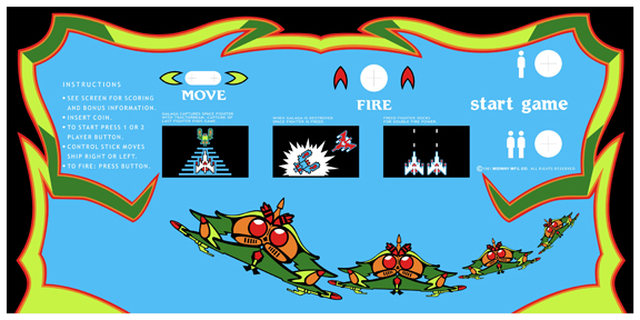 New Upright Galaga Control Panel Overlay