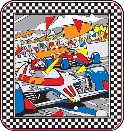 New Atari Pole Position Medallion Sideart Set