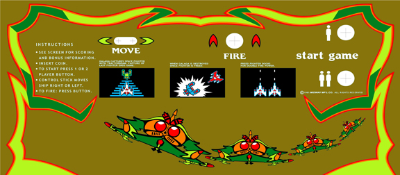 New Upright Galaga(Gold Edition) Control Panel Overlay