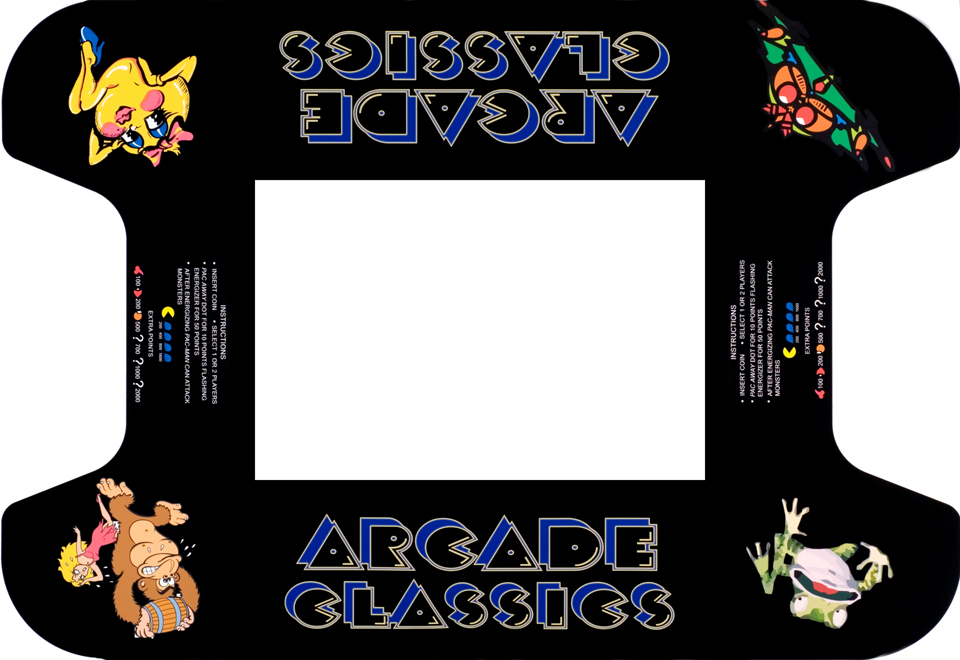 New Arcade Classics Four Character Cocktail Table Underlay