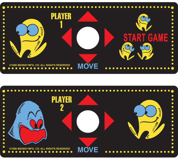 New Pacman Cocktail Control Panel Overlay Set(Pac-Man)